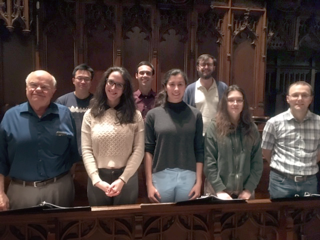Choir, with recording engineer Pierre Paquin, left